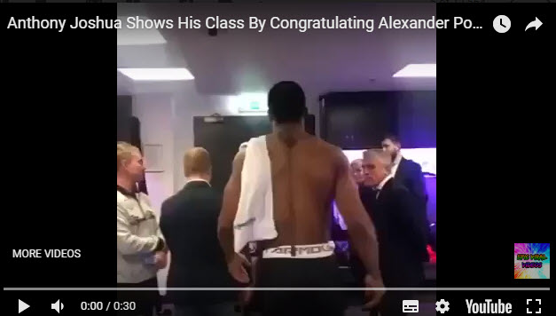 Anthony Joshua bows to Alexander Povetkin after the fight