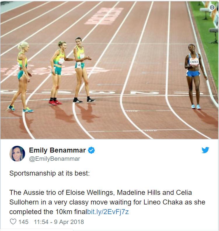 3 Australian Athletes applaud Le Sotho athlete